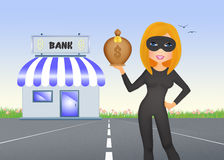 Women thief banks Royalty Free Stock Images