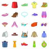 Women things icons set, cartoon style. Women things icons set. Cartoon set of 25 women things icons for web isolated on white background Royalty Free Stock Photo