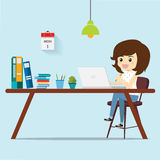 Women thinking work for customers. Royalty Free Stock Photos