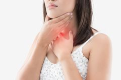 Women thyroid gland control. Sore throat of a people isolated on. Asian woman with sore throat or neck pain or thyroid gland against gray background. People body Stock Photos