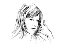 Women to call me gesture. Hand drawing women to call me gesture Stock Image