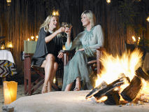 Women Toasting By Bonfire Stock Photo