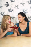Women Toasting Drinks Against Floral Print Wall Stock Photos