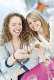 Women toasting with white wine stock images