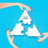 Women Together team work. Business people. jigsaw puzzle. Beautiful women three hands together work. Group of business people assembling jigsaw puzzle, represent Stock Photo