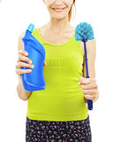 Women with toilet brush Stock Image