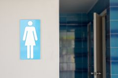 Women toilet rest room sign. Women toilet rest room sign with copy space Royalty Free Stock Image