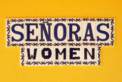 Women Toilet Sign Spanish Stock Image