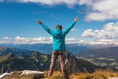 Women on the top of mountain Stock Photo