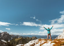 Women on the top of mountain Stock Image