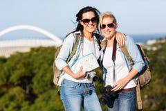Women touring Durban. Two beautiful young women touring Durban, South Africa Royalty Free Stock Photos