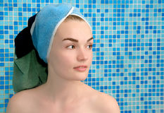 Women in towel on head. Women in towel on the head Royalty Free Stock Images