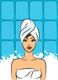 Women in a towel after a shower Stock Images