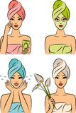 Women in a towel after a shower. Royalty Free Stock Photos