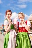 Women in traditional Bavarian dirndl on festival stock photos