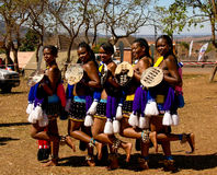 Women in traditional costumes before the Umhlanga aka Reed Dance ceremony, Lobamba, Swaziland Royalty Free Stock Image