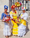 Women in traditional Cuban clothes stock photo
