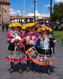 Women in traditional dress in the Plaza Cusco Peru Royalty Free Stock Photography