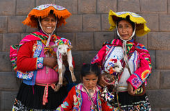Women in traditional dress in the Plaza Cusco Peru Stock Image