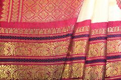 Silk Sari. Women traditional Indian Silk Sari. Women wear during indian festivals like Diwali and ceremonies Stock Photo
