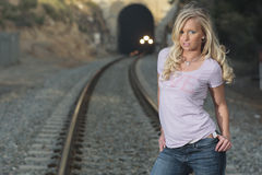 Women by Train Stock Photography