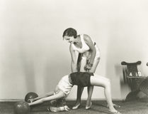 Women training in gym Stock Photo