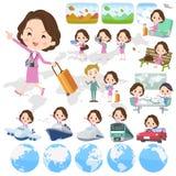Women_travel envelhecido do negócio do terno meio cor-de-rosa ilustração do vetor