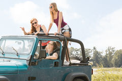 Women travelling by car Royalty Free Stock Photos