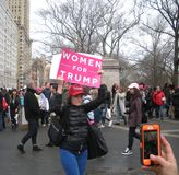 Women For Trump, Women`s March, NYC, NY, USA royalty free stock photos