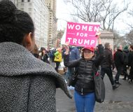 Women For Trump, Women`s March, NYC, NY, USA royalty free stock photography