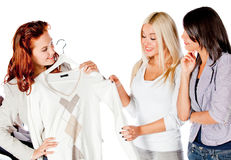 Women trying clothes Stock Image