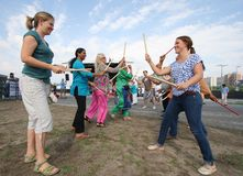 Women Trying Dandiya Stock Image