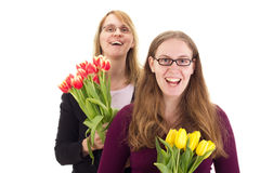 Women with tulips Stock Images