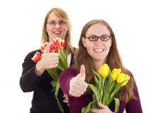 Women with tulips Royalty Free Stock Image
