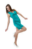 Women in turquoise color dress Stock Image