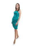 Women in turquoise color dress Stock Images