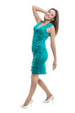 Women in turquoise color dress Royalty Free Stock Photography