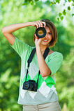 Women with two cameras Royalty Free Stock Images