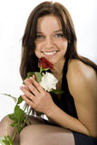 Woman with two roses Royalty Free Stock Photography