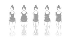 Women types of figures vector illustration. Icons. Human body shapes. Female figures types set. Simple line design.