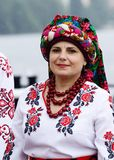 Women in ukrainian dress preparing to performance at  Day of Kiev holiday Royalty Free Stock Photos