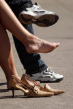 Women uncomfortable shoes Royalty Free Stock Photography