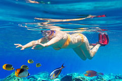 Women underwater in Aegean Sea. Of Greece Royalty Free Stock Images