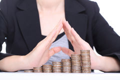 Women use hands for cover her money Royalty Free Stock Photos