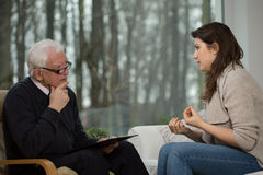 Women uses psychological counseling Stock Photography