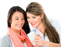 Women using app on a mobile phone Stock Photos