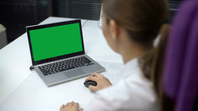 Women Using Laptop with Green Screen. Back View Women Using Laptop Green Screen. Business Workplace stock video footage