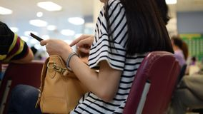 Women using smartphone. Thai asia women using smartphone with one hand stock video footage
