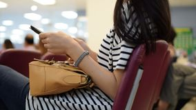 Women using smartphone. Thai asia women using smartphone with one hand stock footage