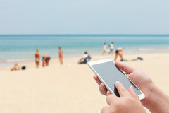 Women using smartphone top on blurred blue sea and white sand be Stock Images